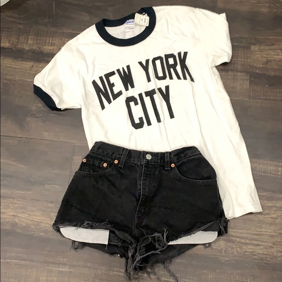 Levi black Cutt off shorts and New York City Tee